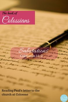 Colossians 1:1-1:2 Introduction – Our Little Pond  Paul begins this epistle with a greeting that first identifies him as the author, then establishes his authority. Paul, being an apostle who was not chosen during Jesus' ministry on earth, is always careful to establish his apostolic authority as not of his own choosing, but of God's.