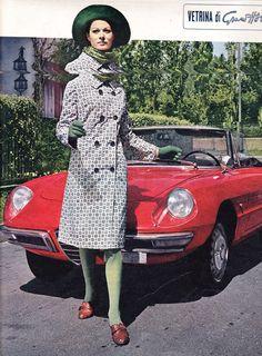 ALFA ROMEO 1600 DUETTO SPIDER PININFARINA & GIRL - 1966