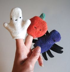 Organic Halloween Finger Puppet Trio Set Eco Friendly by ecoleeko