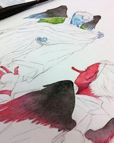 "I'm really enjoying to illustrate one more japanese short story the ""Blue Tengu and Red Tengu"" I like this. . #wip #diuryarts #traditionalart #drawings #painting #watercolor #pentel #tengu #天狗 #青天狗と赤天狗"