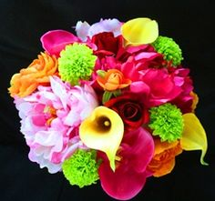 Peonies, Calla Lilies and Roses Silk Wedding Bouquet in Fuchsia, Pink, Yellow, Red, Orange and Green. by www.wedideas.com