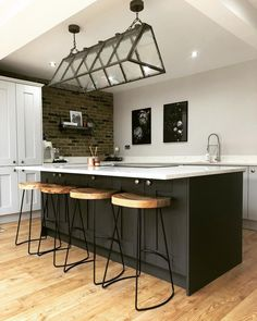 Kitchen inspiration - love the dark units, work surface and oak flooring. Work Surface, Feel Good, Things I Want, Oak Flooring, Feelings, Kitchen Inspiration, Bed, Holiday, Table