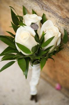 Snow Cone mothers' nosegays - white roses with personalized charms with their own wedding dates