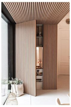 Light Architecture, Interior Architecture, Wood Slat Wall, Door Design, Wood Wall Design, Office Wall Design, Divider Design, Modern Interior Design, Diy Interior