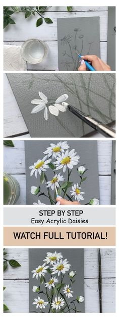 Painting Flowers Tutorial, Easy Flower Painting, Flower Painting Canvas, Canvas Painting Tutorials, Acrylic Painting For Beginners, Flower Canvas, Beginner Painting, Diy Canvas Art, Flower Art