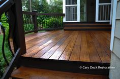 Ipe Deck Cleaning Staining and Restoration Raleigh NC - We upgraded, stained, and painted. Decorator balusters and Custom Ipe Oil Deck Sealer / Stain Outside Patio, Back Patio, Deck Cleaning, Patio Deck Designs, Cement Patio, Porch Flooring, Deck Decorating, Deck Plans, Building A Deck