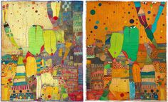 "Huguette Caland Rossinante Under Cover III diptych   51x84"", mixed media on canvas, 2011"