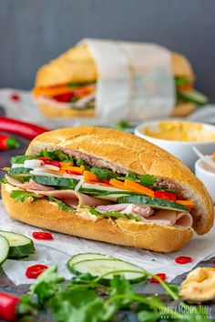 If you havent tried Vietnamese Sandwich Banh mi yet then here is your chance. French-style baguette is packed with fresh and pickled vegetables cilantro and cold cuts of your choice. via Happy Foods Tube Healthy Cold Lunches, Healthy Foods To Make, Healthy Food List, Healthy Eating Recipes, Lunch Recipes, Sandwich Recipes, Sandwich Ideas, Healthy Choices, Gastronomia