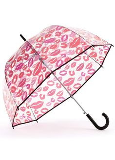 ShedRain bubble umbrellas are perfect for viewing rainbows and hollywood inspired kissing.  See-through umbrella with a pop inspired lip print in red and pink. A generous 52 arc will keep you and a friend dry and the black crook handle is easy to hold.