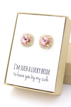 Show your bridesmaids how much you LOVE them with these GORGEOUS blush pink Swarovski crystal earrings!