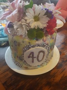 Watercolor and flowers cake