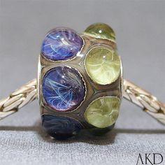 Handmade Lampwork Jewelry Charm Bead Purple & Green by AKDlampwork, $34.00