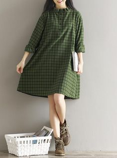 2017 Autumn New Women Plaid Cotton Dress Vintage Literary Long Sleeve Single-breasted Ruffles Plus Size Shirt Dress Mori Girl Unique Dresses, Simple Dresses, Cute Dresses, Casual Dresses, Fashion Dresses, Plus Size Shirt Dress, Plus Size Shirts, Long Sleeve Shirt Dress, Modern Hijab Fashion