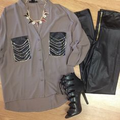 ' Chains Top - Leather High Waist Leggings - Lace Up Booties