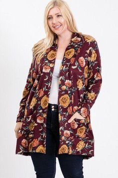 Imported 1XL.2XL.3XL PLUS SIZE FLOWER PRINT POCKET FLOWER PRINT HACCI CARDIGAN 96% Polyester 4% Spandex Burgundy RKA Plus Size Flower Print Pocket Flower Print Hacci Cardigan Outfits Winter, Night Outfits, Plus Size Cardigans, Floral Cardigan, Maxi Dress With Sleeves, Spandex, Cut And Style, Flower Prints, Fashion Boutique