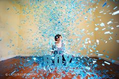 #fun gender reveal #it's a boy #pregnancy announcement #confetti #maternity