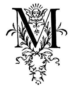 M, Floral initial