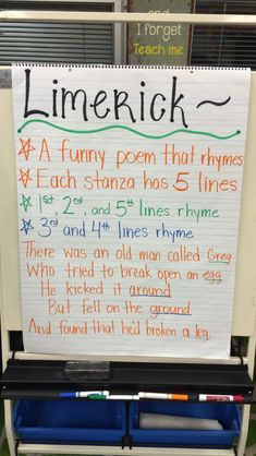 Limerick Poem Anchor Chart