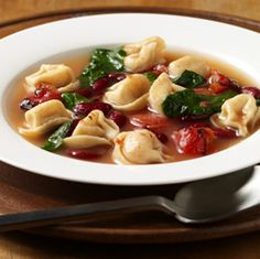 Cheese tortellini, fire roasted tomatoes and beans are transformed into a satisfying meatless soup