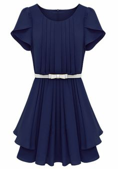 Sapphire Blue Falbala Pleated Short Sleeve Wrap Chiffon Dress