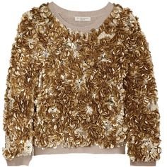 Burberry London Sequined wool and cashmere-blend sweater, Gold,... (£518) ❤ liked on Polyvore featuring tops, sweaters, shirts, burberry, shirts & tops, brown tops, burberry sweater, gold sequin shirt and gold shirt