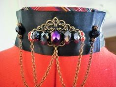 Victorian style tartan and satin choker