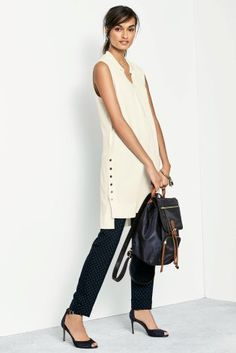 Buy Cream Longline Tunic from the Next UK online shop Capsule Wardrobe Work, Long A Line, Uk Online, Fashion Prints, Casual Looks, Tunic Tops, Stuff To Buy, Shopping, Cream