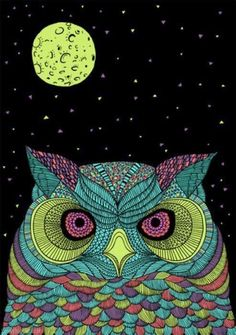 Night Owl colorful night art moon drawing painting owl