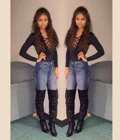 Bodysuit, jeans and knee high boots!