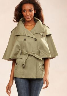 MARC NEW YORK Belted Capelet Trench Coat