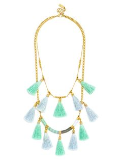 Colorful, floaty tassels compose this lightweight statement necklace for a luxe boho finishing touch.