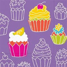 Cupcake Crazy Purple Happy Birthday Luncheon Napkins Lunch Girl Party Sprinkles | eBay