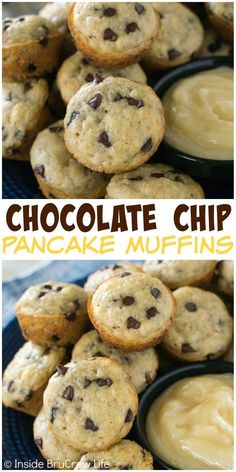 These easy chocolate chip pancake muffins will save you time for breakfast. Keep a bag in the freezer for busy mornings. easy chocolate chip pancake muffins will save you time for breakfast. Keep a bag in the freezer for busy mornings. Breakfast For Kids, Breakfast Recipes, Dessert Recipes, Quick Breakfast Ideas, Desserts, Easy Lunch Ideas, Easy Breakfast Muffins, Back To School Breakfast, Frozen Breakfast