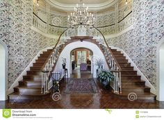 double staircases | Royalty Free Stock Photos: Large foyer with double staircase