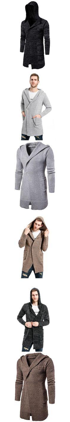 Long Trench Coat Men Hooded Cardigan Mens Sweater 2017 Fashion Men Knitwear Autumn Winter Men's Fashion Casual Pea Coat Overcoat