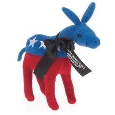 "6"" Patriotic plush toy stuffed Donkey. Plush holiday fun. Accessories priced separately. Stuffed Animal, plush toy, stuffed toy, custom."