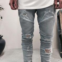 987120d502345 Cheap Más el tamaño representan ropa de diseño pantalones azul   negro  destruido para hombre delgado