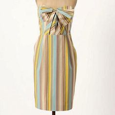 Anthropologie Moulinette Soeurs Dress Size-0 Mint One day sale! LOWEST EVER! Anthropologie Moulinette Soeurs Strapless Striped Dress With Stunning Front Bow Detail, Pockets On Both Sides, Opening Slit in the back (see photos), Rubber Lining along edges of top to avoid slipping.  Size - 0 Mint Condition! A fashionable dress that's classy, comfortable and so chic. Versatile and the colors allow so many different choices for shoes and bags! Anthropologie Dresses