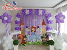 Princess Sofia Birthday, Sofia The First Birthday Party, Pink And Gold Birthday Party, Third Birthday, Birthday Decorations At Home, Balloon Decorations, Tangled Party, Rainbow Parties, Barbie Birthday