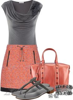 Grey and orange/pink