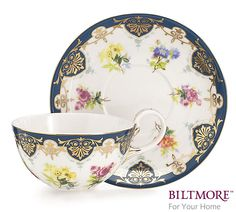"""#burtonandburton Handwash only/FDA approved.Vanderbilt Service teacup and saucer set.<br>Saucer: 5 3/4""""Diameter.<br>Cup: 2 1/2""""H X 3 3/4""""D.<br>2 sets.<br><br><br>The Biltmore House is located in the beautiful Blue Ridge Mountains in Asheville, North Carolina. George Vanderbilt was inspired to build this country estate in 1888 while on a short vacation in western North Carolina. <br><br> The estate and surrounding 125,000-acre grounds were designed by the creator of New York's Central Park…"""