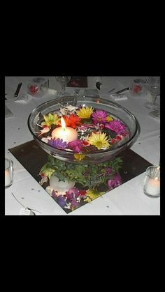 Centerpiece. Mirror. Bowl with water and flowers