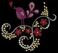 Flower flowers bird  Rhinestone Iron on Transfer Hot fix applique Motif 6''