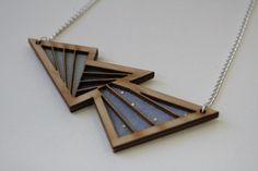 Wooden Lasercut Bolt Necklace - Dusk via Etsy