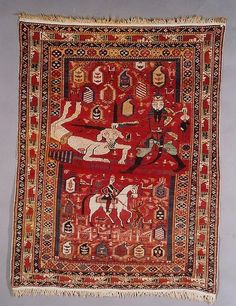 This is a 19th century Marasalli Shirvan pictorial rug. One of the very best! Excellent condition.