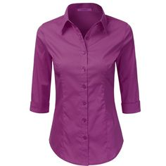 LA BASIC Womens 3/4 Sleeve Button Down Point Collared Shirts (S-3XL) ($14) ❤ liked on Polyvore featuring tops, shirt tops, button down shirts, purple button up shirt, button up tops and button down top