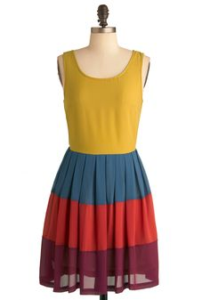 In Colorful Swing Dress - Mid-length, Red, Yellow, Blue, Purple, Color Block, Exposed zipper, Pleats, Tank top (2 thick straps), 60s, Multi, Casual, Vintage Inspired, A-line