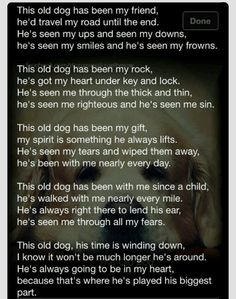This is beautiful. To old the old dogs who have spent their life with me Schnauzers, Chihuahuas, Dachshunds, I Love Dogs, Puppy Love, Pet Poems, Pet Loss Grief, Animal Quotes, Pet Quotes