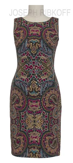 Joseph Ribkoff Jewel tone sheath dress. Detailed with scattered sequins.
