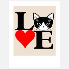 Love Cats Print Black Red, 16€,  by Cathy Peng !!